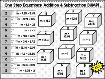 BUMP! One Step Addition & Subtraction Equations