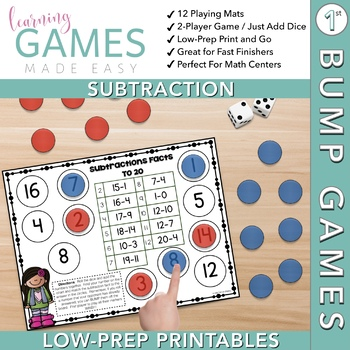 1st Grade Subtraction Game -- First Grade BUMP