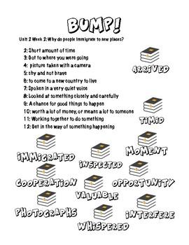 BUMP! Wonders Unit 2 Vocab Game