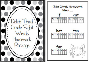 BUMPER Dolch Sight Words Homework Package Folder