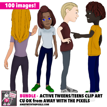 BUNDLE 100 Teen Actions Clip Art  Commercial Use OK - Teenage Secondary Clipart