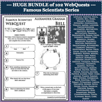 BUNDLE 102 Famous Scientists WebQuests