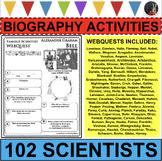 BUNDLE 102 Famous Scientists WebQuests Science Research Project