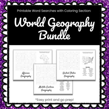 BUNDLE - 11 Printable World Geography Word Search Puzzles