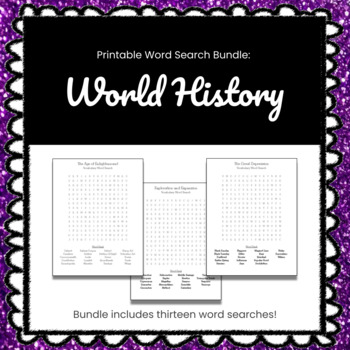 BUNDLE - 13 Printable World History Word Search Puzzles