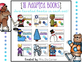 BUNDLE 18 Adapted Books for December ( Level 1 and Level 2 )