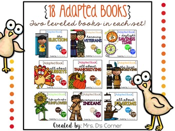 BUNDLE 18 Adapted Books for November ( Level 1 and Level 2 )