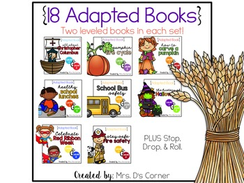 BUNDLE 18 Adapted Books for October ( Level 1 and Level 2 )