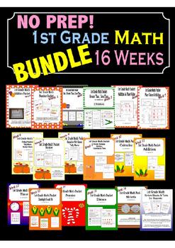 NO PREP BUNDLE - 1st Grade Math Curriculum - 16 Weeks