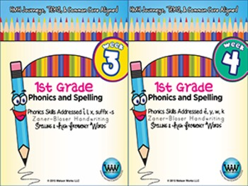BUNDLE: 1st Grade Phonics and Spelling Zaner-Bloser (Weeks 1-6) {TEKS-aligned}