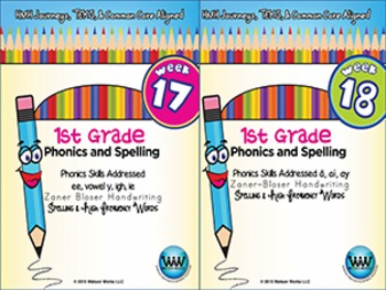 BUNDLE: 1st Grade Phonics and Spelling Zaner-Bloser (Weeks 13-18)