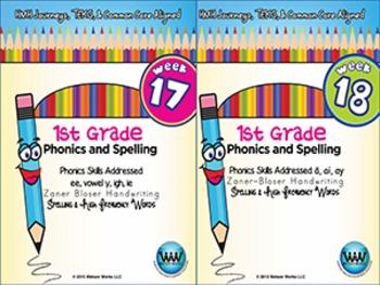 BUNDLE: 1st Grade Phonics and Spelling Zaner-Bloser (Weeks 13-18) {TEKS-aligned}