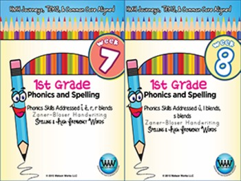 BUNDLE: 1st Grade Phonics and Spelling Zaner-Bloser (Weeks 7-12)