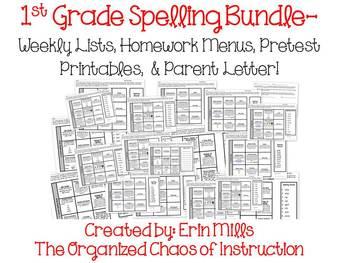 1st Grade Spelling- Lists, Menus, Pretest Slips, Parent Letter
