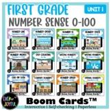 BUNDLE: 1st Grade Unit One: Number Sense 0-100 Boom Cards™