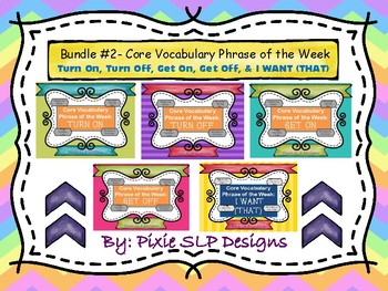 BUNDLE #2- Core Vocabulary Phrase of the Week- 5 Phrases