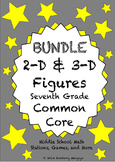 BUNDLE 2-D and 3-D Geometry Math Stations for Common Core Seventh Grade