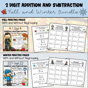 BUNDLE: 2-Digit Addition and Subtraction {Fall and Winter Themes}