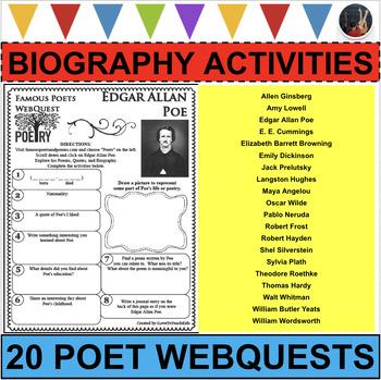 BUNDLE 20 Famous Poets WebQuests Poetry