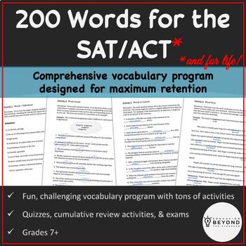 BUNDLE--200 SAT Vocabulary Words, Activities, Quizzes, & More!