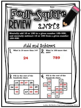 BUNDLE - 2nd Grade Four Square Review ALL Standards (Quick Math Assessments)