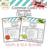 BUNDLE! 2nd Grade Math and ELA Common Core Standards Checklist