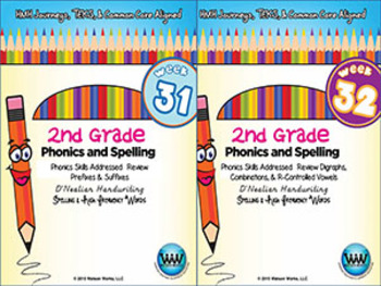 BUNDLE: 2nd Grade Phonics and Spelling D'Nealian (Weeks 25-32) {TEKS-aligned}