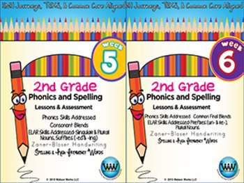 BUNDLE: 2nd Grade Phonics and Spelling Zaner-Bloser (Weeks 1-6) {TEKS-aligned}