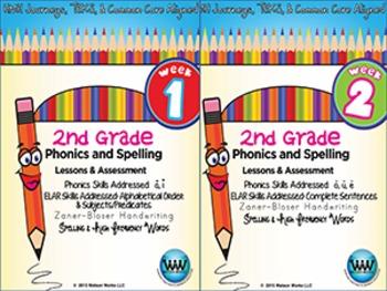 BUNDLE: 2nd Grade Phonics and Spelling Zaner-Bloser (Weeks 1-6)