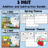 BUNDLE: 3-Digit Addition and Subtraction {Spring and Summer Themes}
