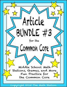BUNDLE #3 Middle School Math Articles for the Common Core