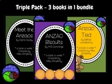 BUNDLE: 3 book activity packs ANZAC TED anzac biscuits MEET THE ANZACS