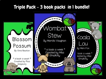 BUNDLE: 3 book activity packs WOMBAT STEW koala lou BLOSSOM POSSUM