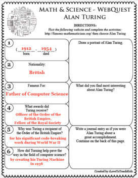 BUNDLE 32 Famous Mathematicians & Scientists WebQuests
