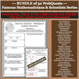 BUNDLE 32 Famous Mathematicians & Scientists WebQuests