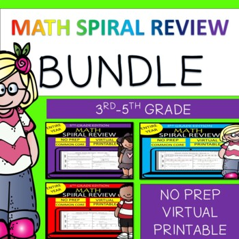 BUNDLE 3RD-4TH GRADE  Math Spiral Review | Homework/Morning Work ENTIRE YEAR