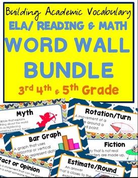 BUNDLE 3rd-5th ELA/Reading & MATH B.A.V. Word Wall