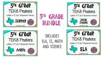 "BUNDLE - 3rd Grade ""I Can"" Statement TEKS Objectives Posters - Distressed"