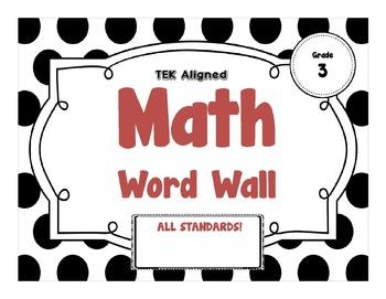 BUNDLE - 3rd Grade MATH Word Wall - TEKS Aligned