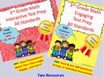 BUNDLE 3rd Grade Math Interactive Test Prep: All 25 Standards