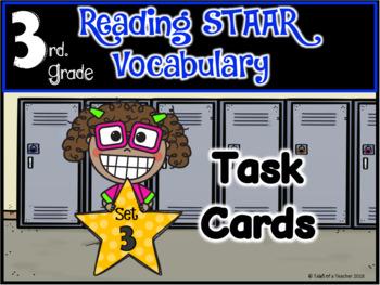 BUNDLE: 3rd Grade STAAR Reading Vocabulary Task Cards ~ Sets 1-3
