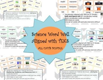 BUNDLE - 3rd Grade Science Word Wall - Aligned to TEKS
