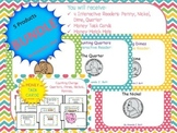 BUNDLE!!! 4 Money Interactive Readers; Money Task Cards; First; Second Grade