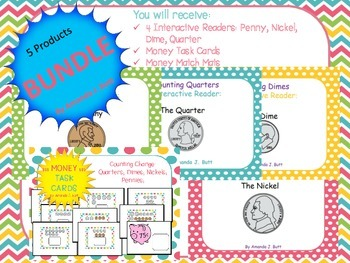 BUNDLE!!! 4 Money Interactive Readers; Money Task Cards; First; Second Grade