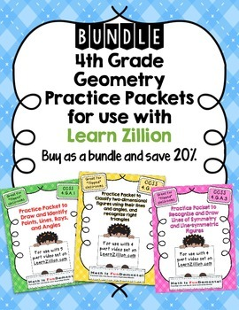 BUNDLE: 4th Grade Geometry Practice Packets for Use with Learn Zillion