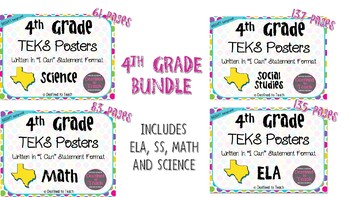 "BUNDLE - 4th Grade ""I Can"" Statement TEKS Objectives Posters - Brights"