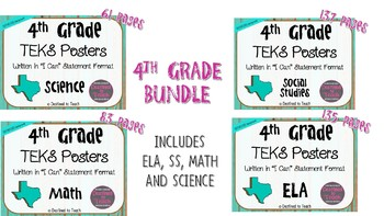 "BUNDLE - 4th Grade ""I Can"" Statement TEKS Objectives Posters - Distressed"