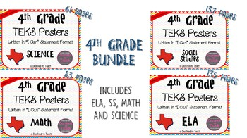 "BUNDLE - 4th Grade ""I Can"" Statement TEKS Objectives Posters - Primary"