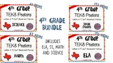 """BUNDLE - 4th Grade """"I Can"""" Statement TEKS Objectives Posters - Primary"""