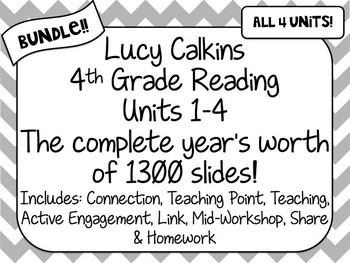 BUNDLE! 4th Grade Lucy Calkins Reading Units 1-4 Powerpoint ENTIRE YEAR PLANS!